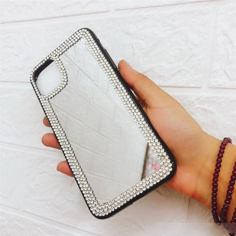 Feitas à mão cristal Rhinestone casos de telefone espelho iphone 11 caso coque iphone 11 pro caso do iphone tampa do caso xr