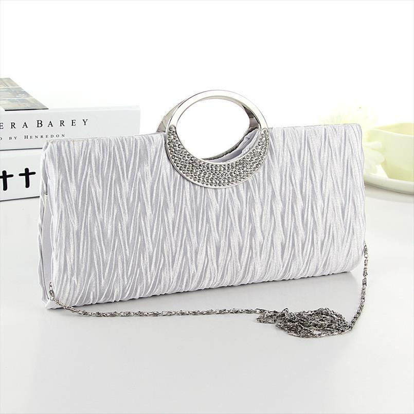 Moda Donna Satin strass Evening Clutch Bag borsa elegante belle borse borsa da sposa festa di nozze 28.5 * 4 * 13cm