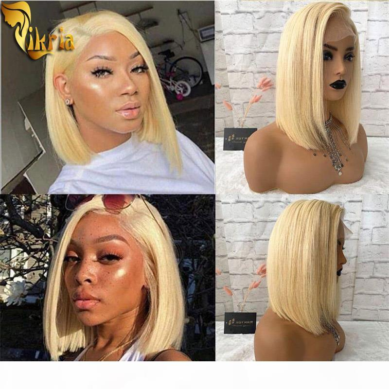 613 Blonde Short Bob Wigs Full Lace Human Hair Wig 13x4 Lace Front Wig PrePlucked Hairline With Baby Hair 130%~150%Density For Black Women