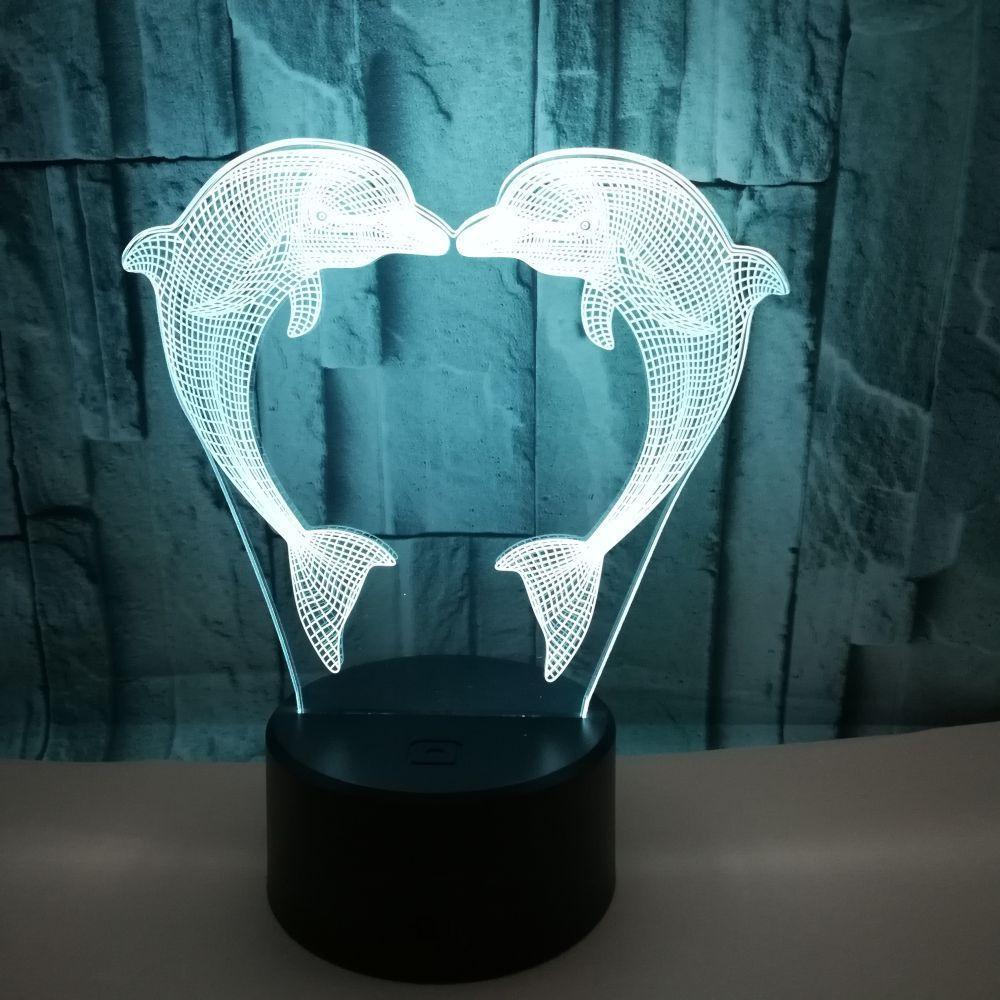 Acrylique 3D Stereo Vision Light Touch lampe USB LED Creative décoratif Petite nuit lumières colorées 3d Table Dolphin lumière
