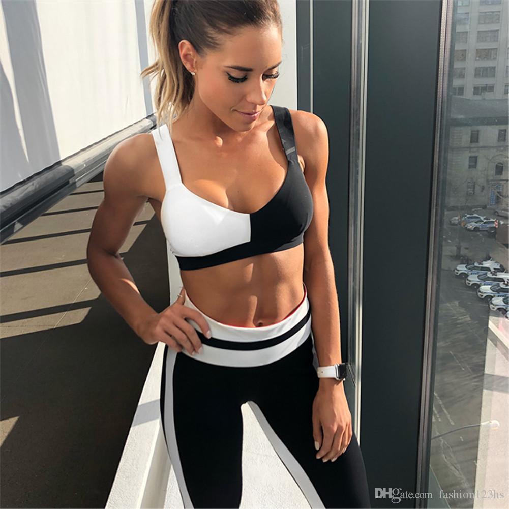 Yoga Sport traje Mujeres de la gimnasia ropa de la aptitud Running White Patchwork chándal Negro sujetador de los deportes + Sport polainas de 2 pedazos