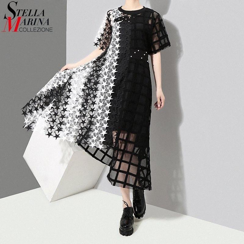 2019 Kadınlar Yaz Uzun Siyah Beyaz Dantel Elbise Hollow Out Kızlar Akşam Gece Parti Seksi Kulübü Asimetrik Elbise Robe Femme 3517 aotA #