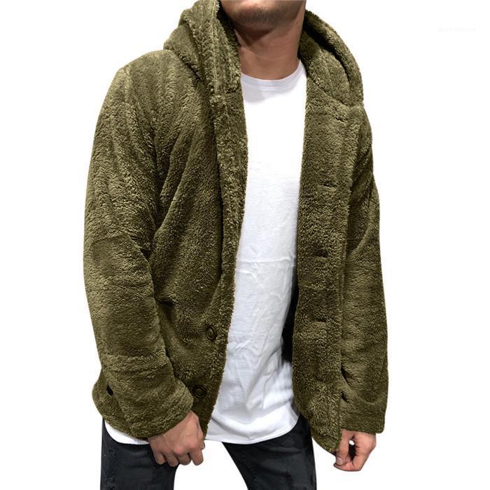 Vestes à capuchon Casual manches longues Cardigan Sweats à capuche Manteaux couleur solide en vrac Hommes d'hiver Vêtements Vêtements pour hommes en peluche Designer