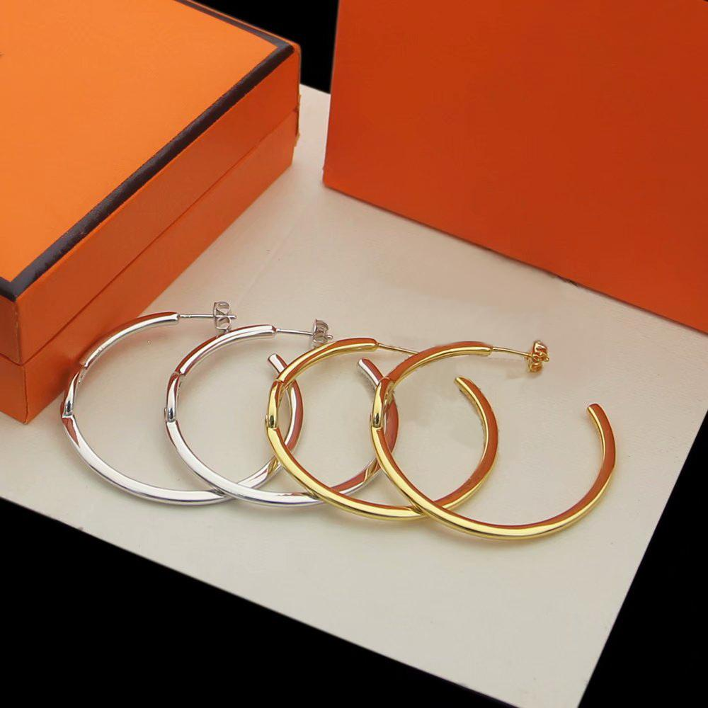 유럽 아메리카 스타일 레이디 여성 티타늄 스틸 새겨진 H 이니셜 C 형 스터드 귀걸이 3 색