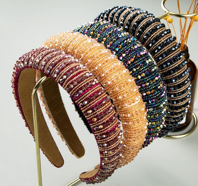 Нового женское Полного Кристалл Rhinestone Губка Embellished оголовье девушка Handmade вышитого Hairband Ювелирных аксессуары для волос
