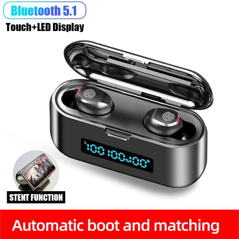 F9 Bluetooth V5.0 Earphone Wireless Headphones Touch Control 9D Hifi Stereo Sports Waterproof Gaming Earphone Headset