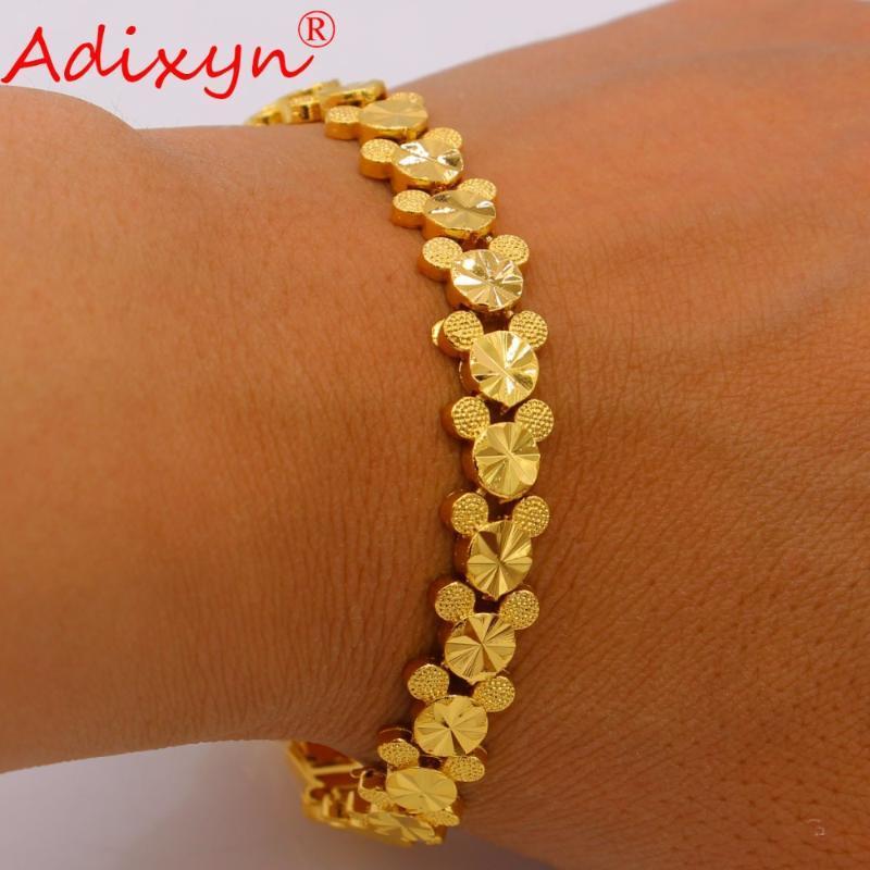 Bileklik Adixyn 21 CM Altın Bilezik Kadınlar Için / Erkekler Renk Bakır Dubai Bilezik El Zinciri Takı Afrika / Etiyopya / Arap Gif N050715