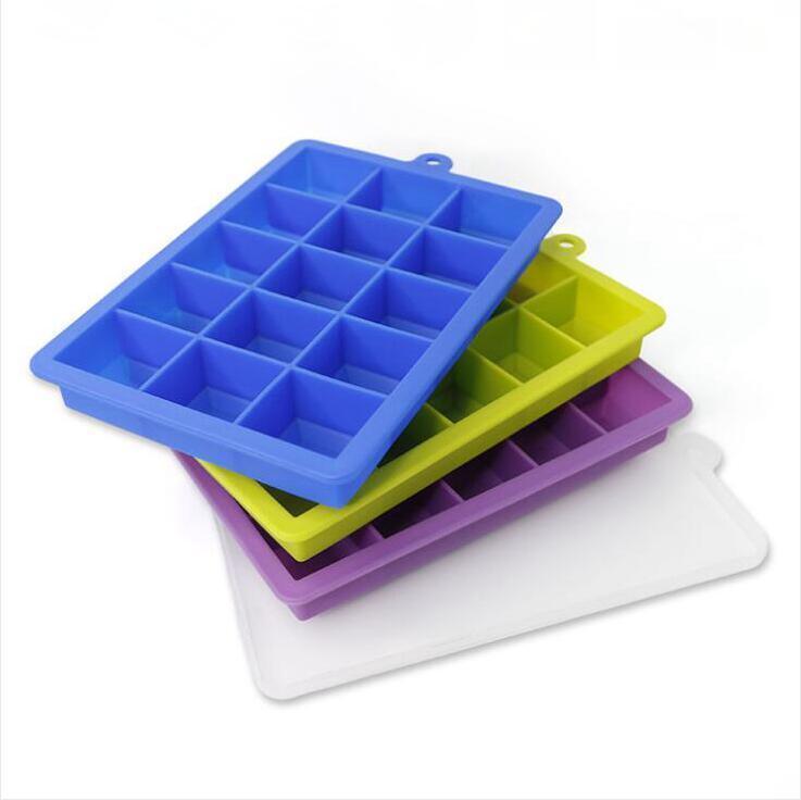 Silikon-Eis-Form mit Deckel Kuchen Pan Moulds 15 Lattice Tragbare quadratischer Würfel Schokoladen-Süßigkeit-Gelee-Form-Küche Backwaren DHC364