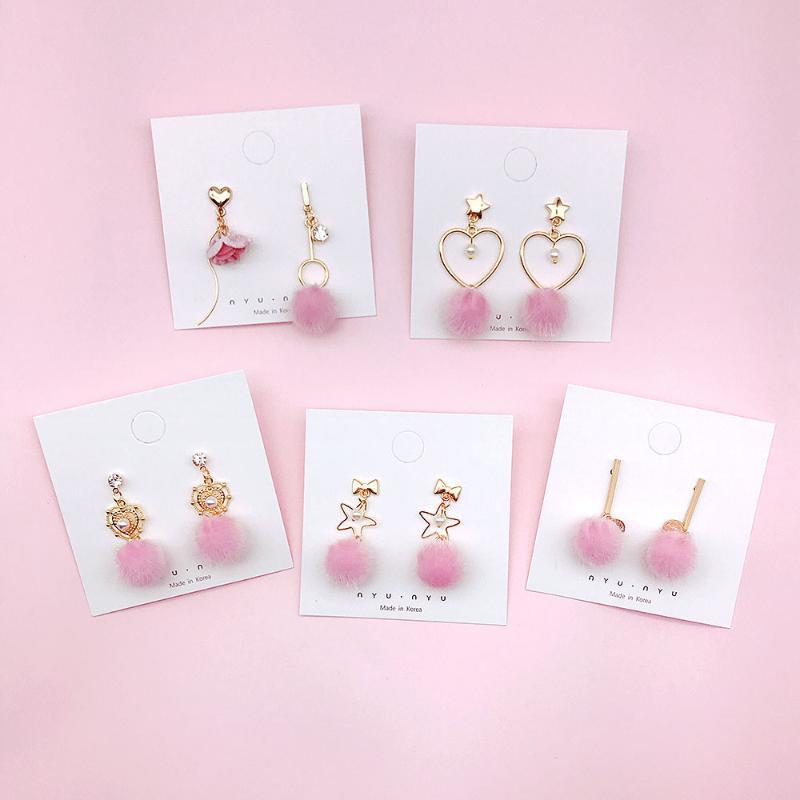 Серьги с ручкой люстра корейские моды розовые сердца плюшевые шарные серьги для женщин круглые студенческие высказывание Помпом подарок ювелирных изделий