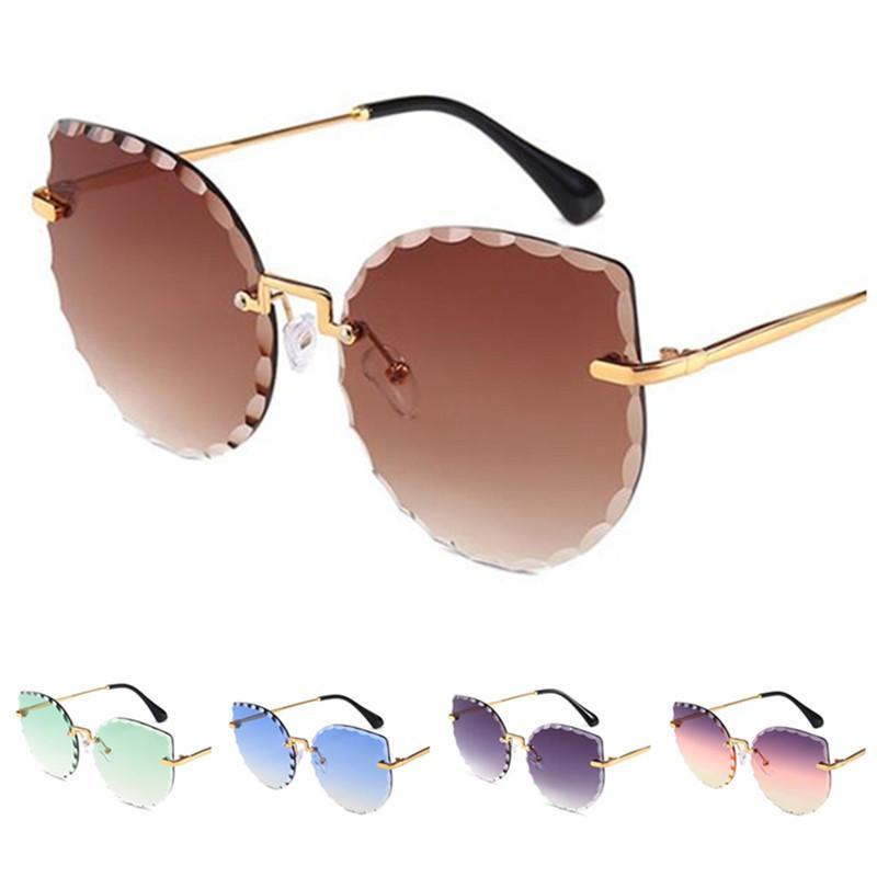 Moda feminina sem aro dos óculos de sol do olho de gato Sun Glases aparamento Lens Óculos Anti-UV Espetáculos Oversize Lens Óculos Adumbral A ++