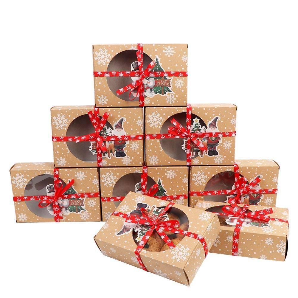 24PCS ورق كرافت عيد الميلاد كوكي علب الهدايا مع مسح النافذة 18 * 12 * 5cm والسنة الجديدة الحسنات صناديق البسكويت المتع