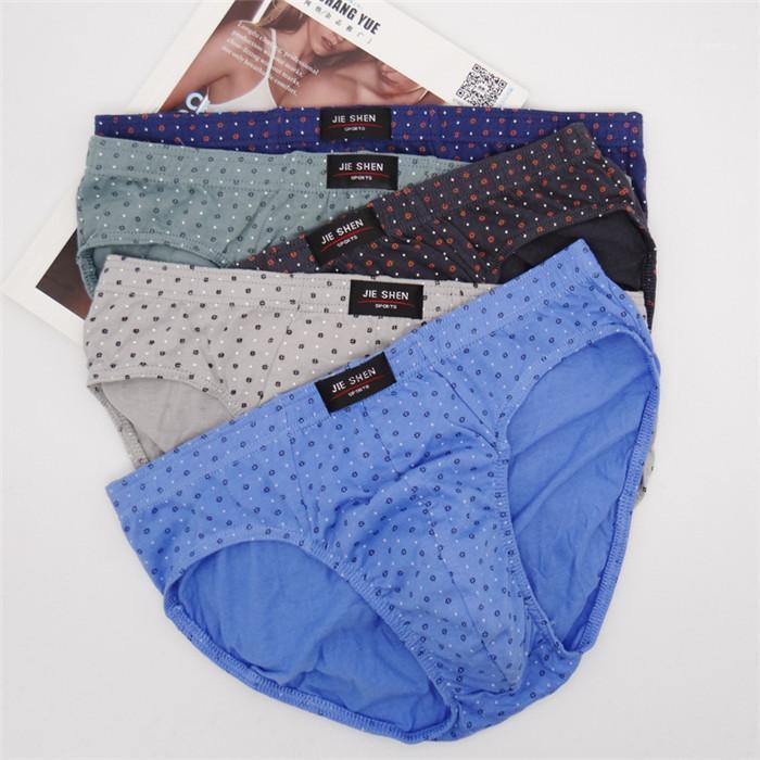 Dot Tamaño más cómoda ocasional ropa interior calzoncillos para hombre masculino diario transpirable mediados de cintura de los calzoncillos Polka