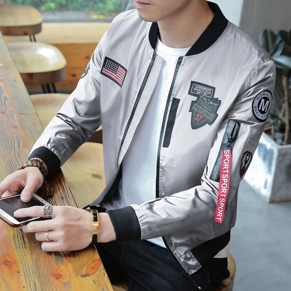 EkBUh Stand Marke modische Jacke Student gut aussehende Kragenjacke Pilot koreanischer beiläufige Uniform Uniform Baseball Anzug Baseball Anzug Stil trendy