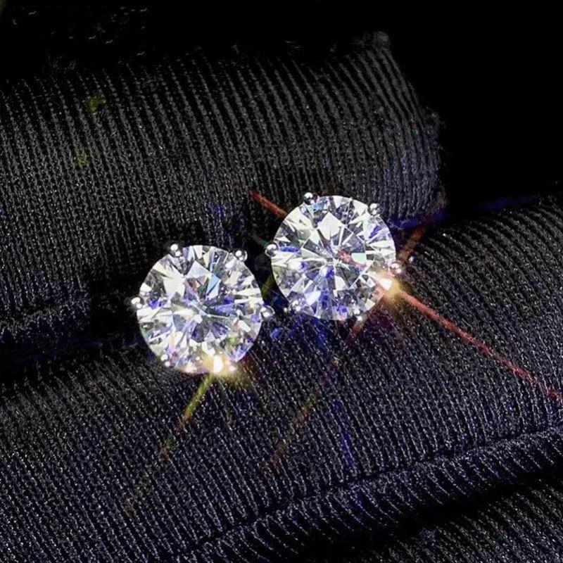 Классическая Шесть коготь Роскошные ювелирные изделия Pure 925 стерлингового серебра 6mm Круглый Cut белый топаз Solitaire женщин Свадебные серьги стержня подарков