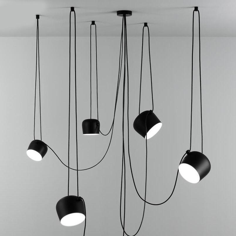 Personnalité nordique DIY Araignée Pendentif lampe blanche ou abat-jour tambour Noir Pendant Light moderne Hanging réglable tambour Luminaire