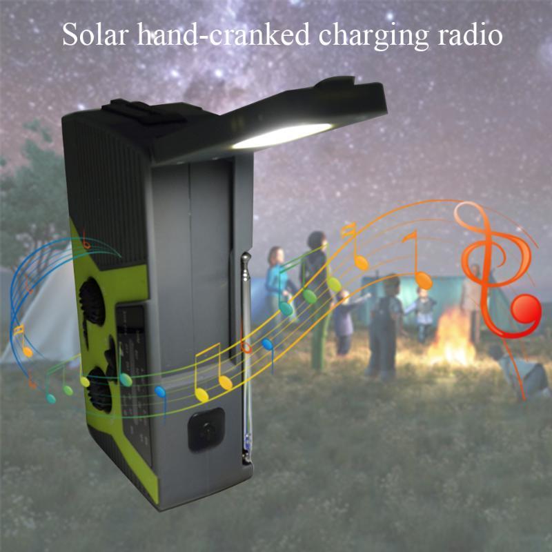 Météo ABS Manivelle solaire Led Radio Portable Avec SOS Alarme multifonction USB rechargeable d'urgence Randonnée