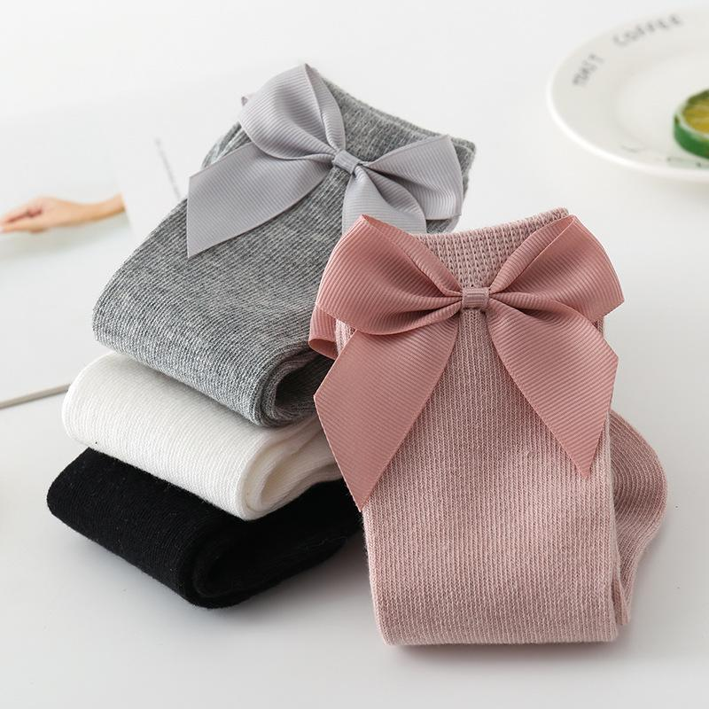 INS Baby Girls Rodilla High Socks Kids Socking Big Bow Cotton Mid Little Girl Tube Sock M2710