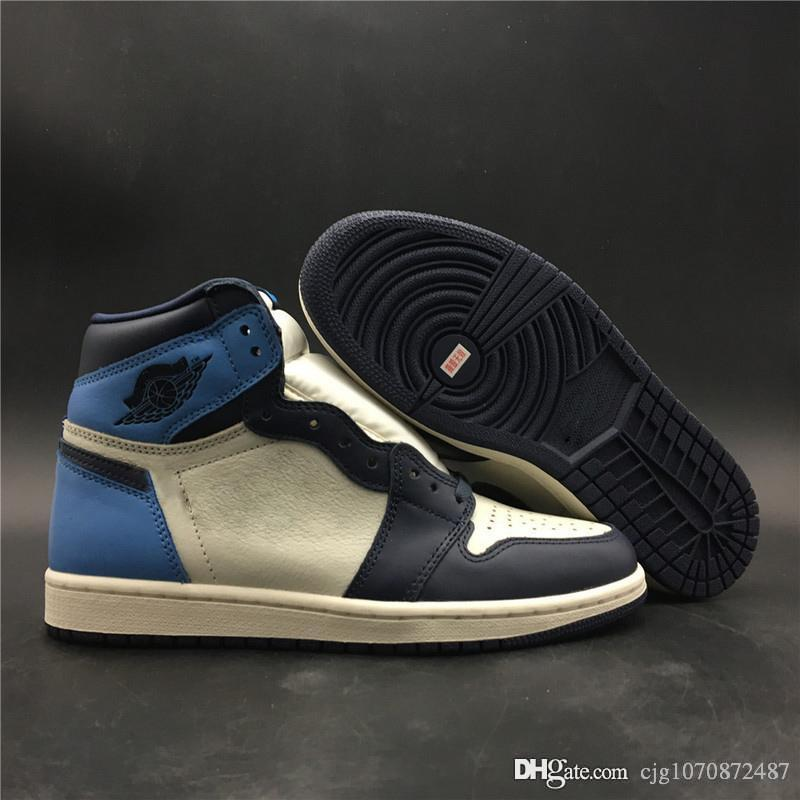 Seksi Otantik 1 Yüksek OG UNC Deri Obsidian 1S Erkekler Basketbol Ayakkabı Mavi Retro Mans Spor Spor ayakkabılar Orijinal Kutusu ile 555088-140