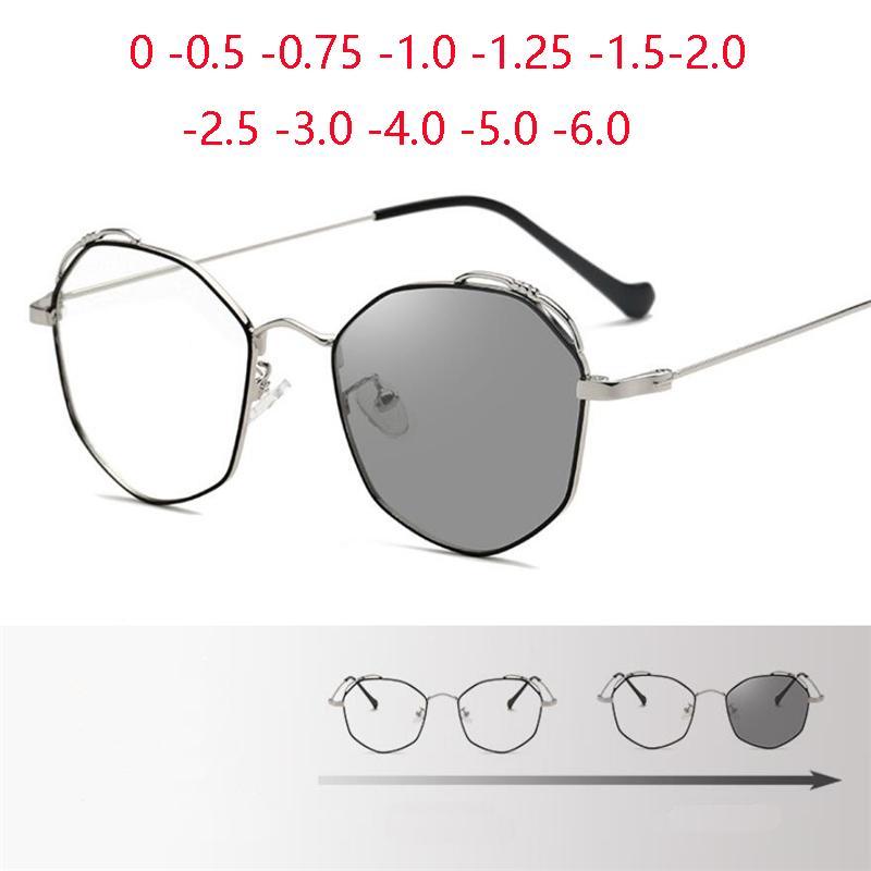 Sonnenbrille Polygon Chamäleon Rezept Brillen Frauen Metall Schwarz Silber Sun Pochromic Myopes Lunettes Weiblich 0 -0,5 -0,75 bis -6,0