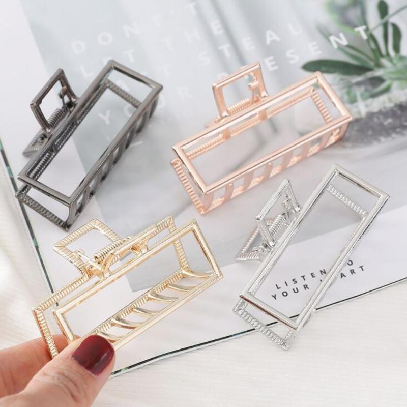 Forma Donne Ragazze geometrica fascette metalliche Granchio Luna Artiglio clip solido colore tornante grande Dimensioni Accessori per capelli