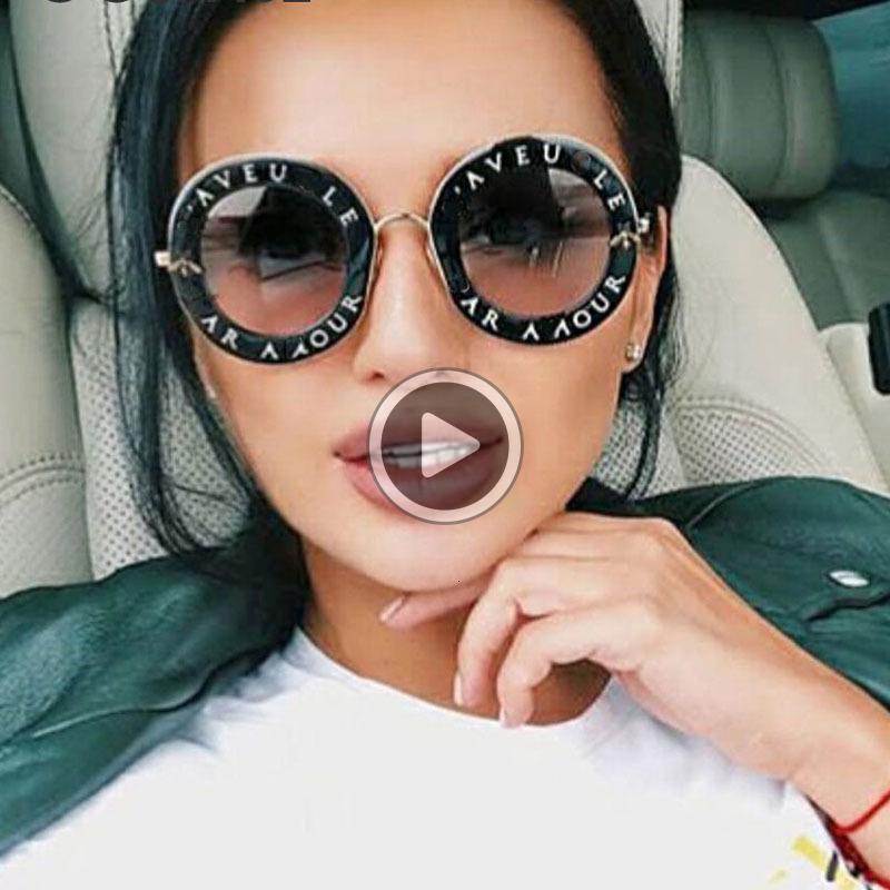 Retro Yuvarlak Güneş Kadınlar Marka Dener İngilizce Harfler Arı Metal Çerçeve Çember Güneş Gözlükleri Moda Kadın Shades óculos