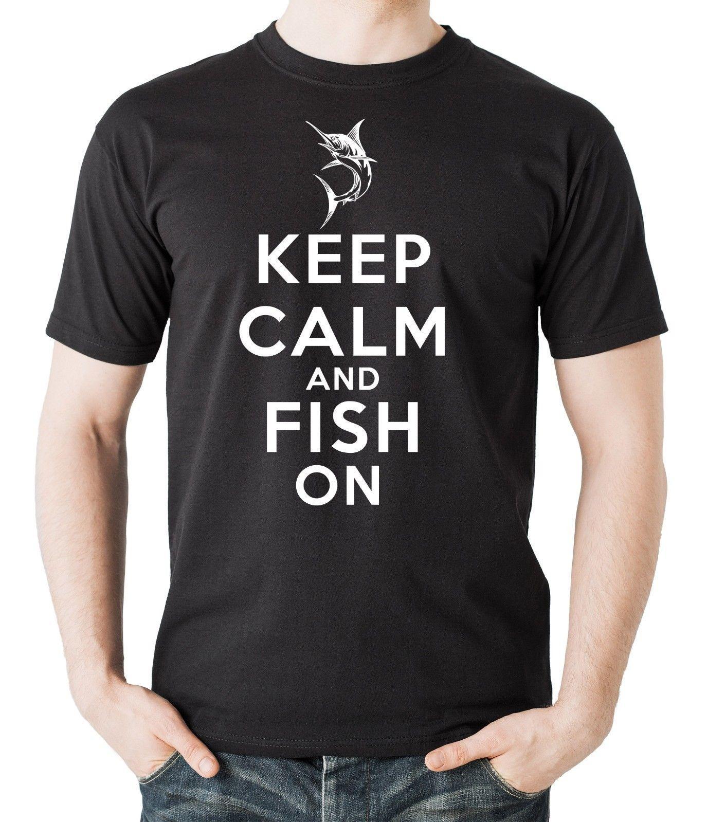 Fishings Shirt Halten Sie Ruhe und Fische auf T-Shirt Geschenk für Fischer Beruf Hobby