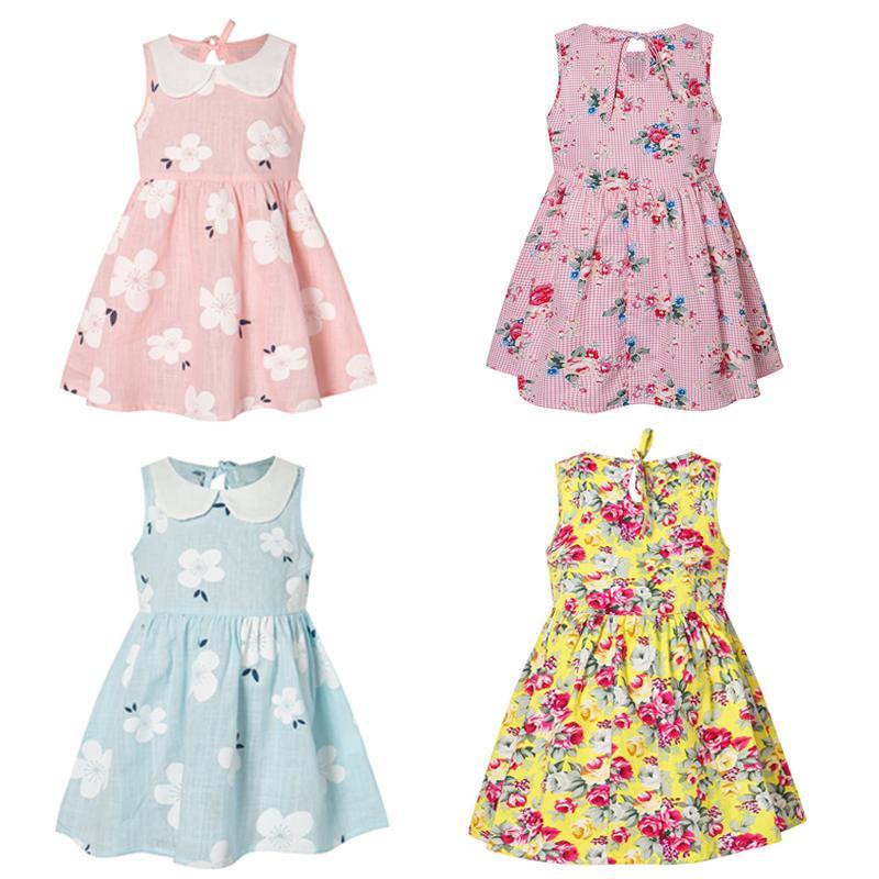 Mädchensommerkleid netter Blumendruck Ärmel weiche Kleider Kinder Mode Prinzessin Kostüm Mädchenkleidung Partei billige Bekleidung