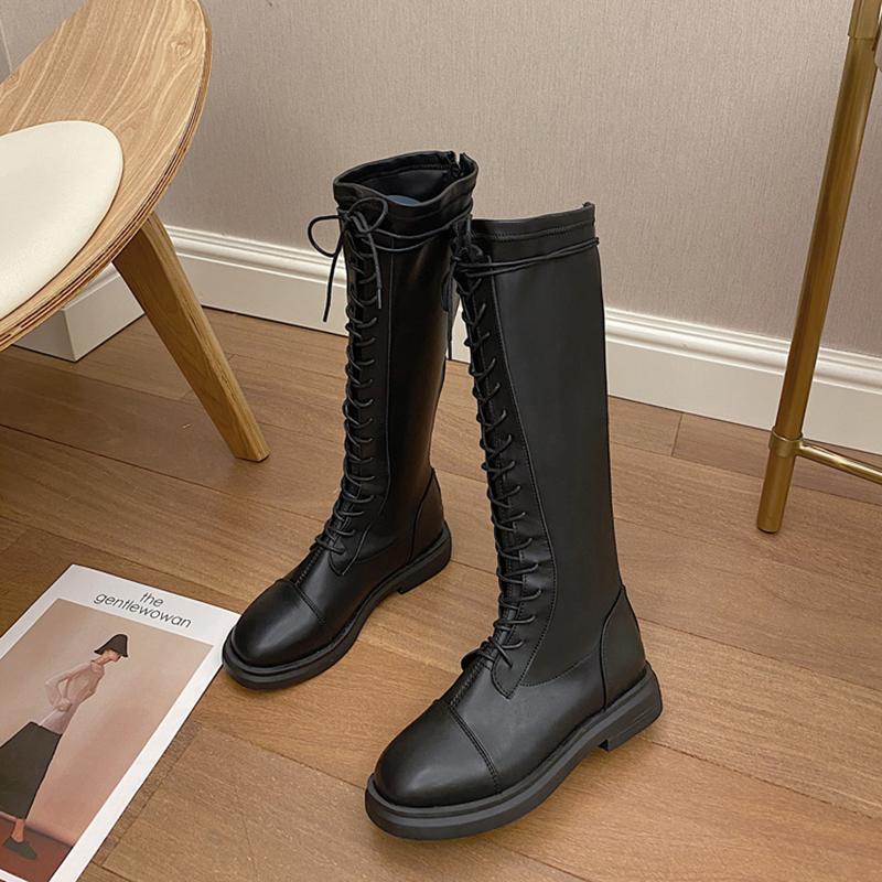 Classic Sólidos Couro PU Platform botas altas da coxa Mulheres Moda Lace-up espessamento botas longas partido meninas legal Flats