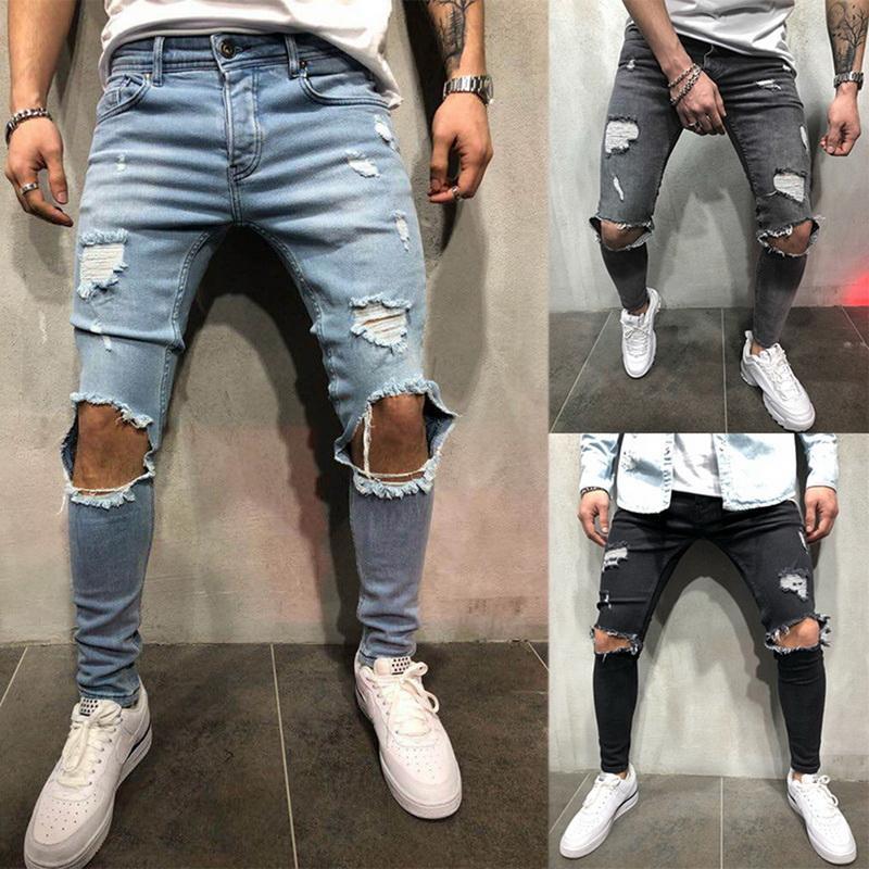 Denim stretch Pantalon Homme Hip Hop trou Jeans Pantalons Hommes Sexy Denim Ripped Pantalons Jeans Crayon Automne droite Streetwear tendance