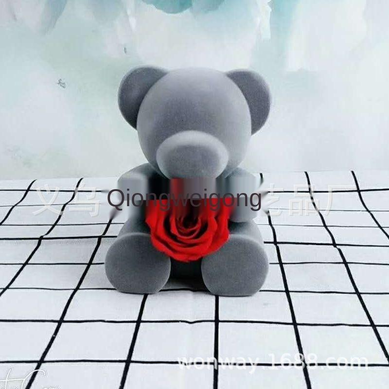 Best Quality Yongsheng Fresh-keeping Rose Flocking Bear Flower Box Mother's Valentine's Day Gift Outlet