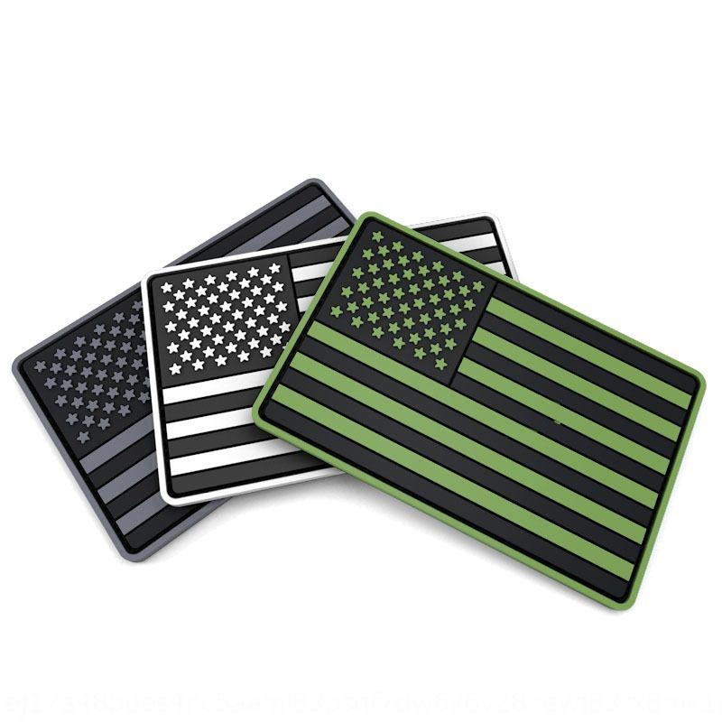 Zgpas estadounidense PVC gancho y lazo nacional de estrella rayada 5 * 8cm negro estrella blanca a rayas nacional gancho de la bandera americana Bandera verde del PVC y el bucle 5 *