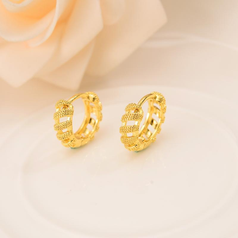 Gold plated hollow Round Circles Huggies Hoop Earrings Gold Jewellery For women girls Aros girls jewelry african best gift