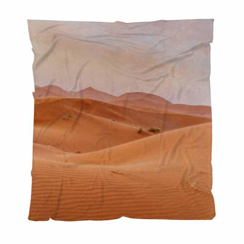 Orange Throw Blanket Super Soft Couvertures Sandy orange Dunes et ciel nuageux dans le désert Enfant Adulte Couverture Climatisation Quilt