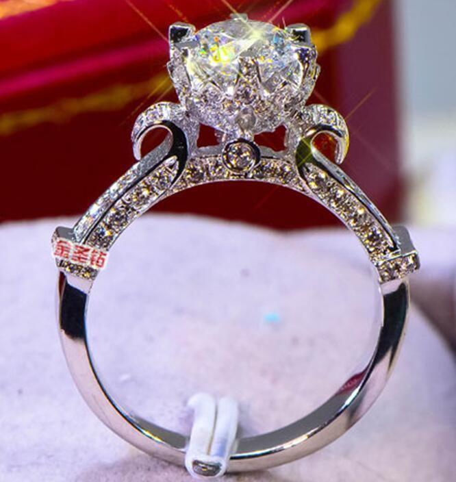 Test PT950 regalo delle donne Passo diamante della penna Gioielli 3CT Sterling Silver Wedding Anniversary corpo Moissanite Diamond Ring Festa di fidanzamento