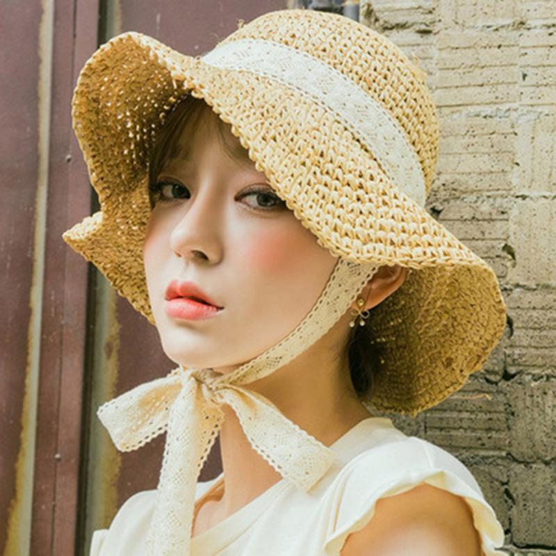 Новый продукт Луффи мэм Отдых Go On A Journey Bow Соломенная шляпка на открытом воздухе на отпуск Солнцезащитный Will обрезные ВС Hat кружева края