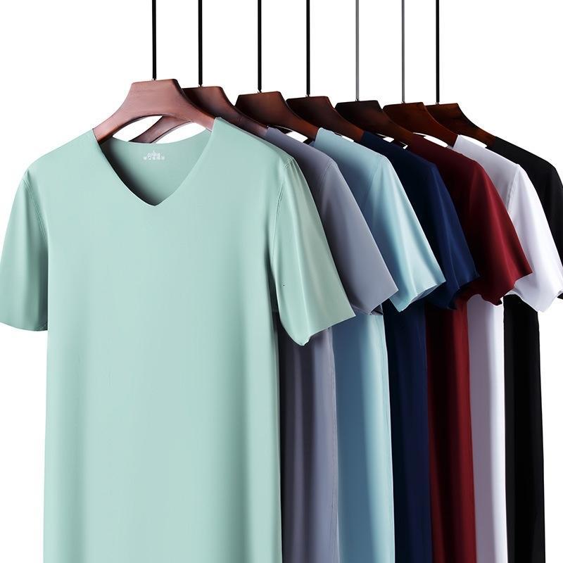 2020 Nouvelle couleur solide T-shirt des hommes de mode polyester V-cou T-shirts manches courtes d'été T-shirt Boy Skate Tops Taille Plus