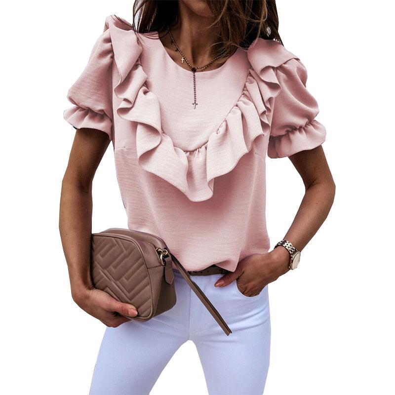 Элегантный Puff плеча рябить блузку рубашка 2020 Лета V шеи рубашки с коротким рукавом Твердая Назад застегнутом Деталь Tops Women рубашки