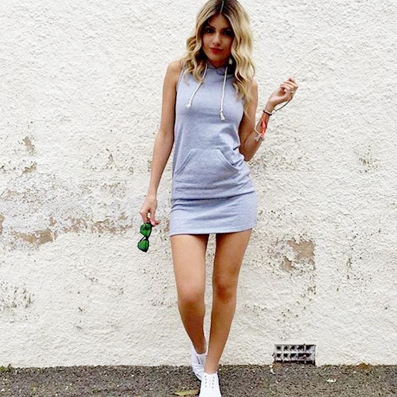 Art und Weise Frauen Sexy Ärmel schlanke Figur mit Kappe Hip-Abdeckung Kleid Grau Coctail Kleider Brautjungfern-Kleid Von, $ 15.16   DHgate.Com vmtu #