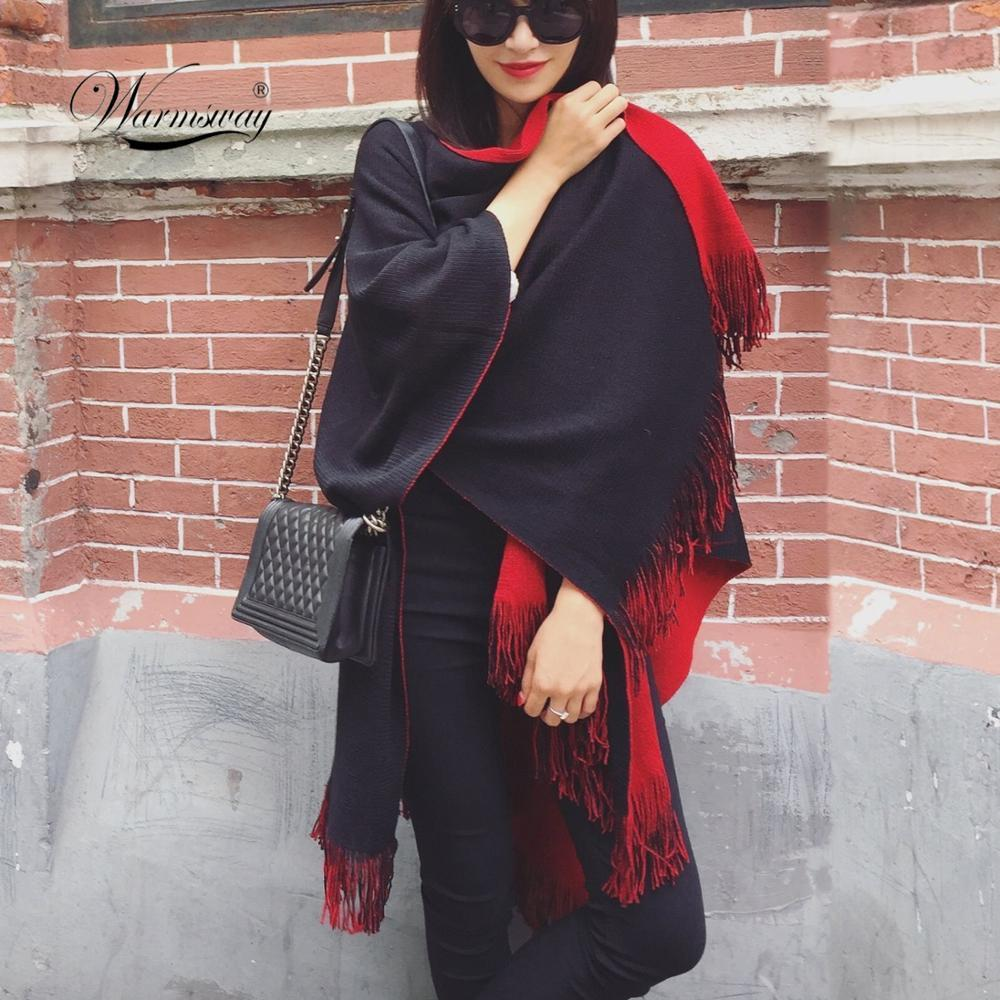 Quality Guarantee Oversized Reversible Reversed Women Winter Knitted Cashmere Poncho Capes Shawl Cardigans Sweater Coat 200919