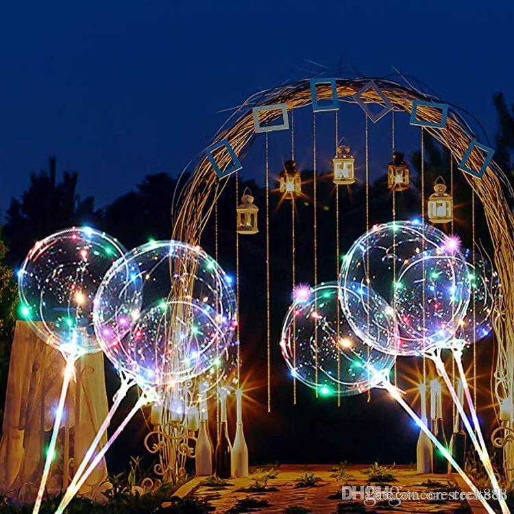 LED ışık up bobo balonlar renkli, 20 inç kabarcık balon, 70 cm çubuk, noel doğum günü partisi dekorasyon ışık balon