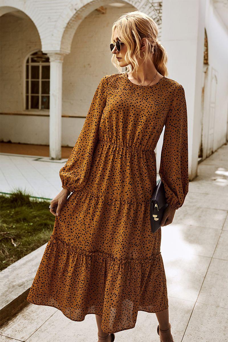우아한 여성 전체 슬리브 드레스 패션 가을 탄성 허리 O 넥 - 목 인쇄 A 라인 파티 Vestidos 캐주얼 드레스 여성 203034
