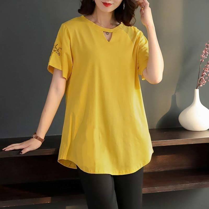 NGsk5 пу Вышитые большой среднего возраста 200 цзинь свободно средней длины wCzKN Фу Чжуан пу-фу чжуан футболки одежда с короткими рукавами футболки женские s