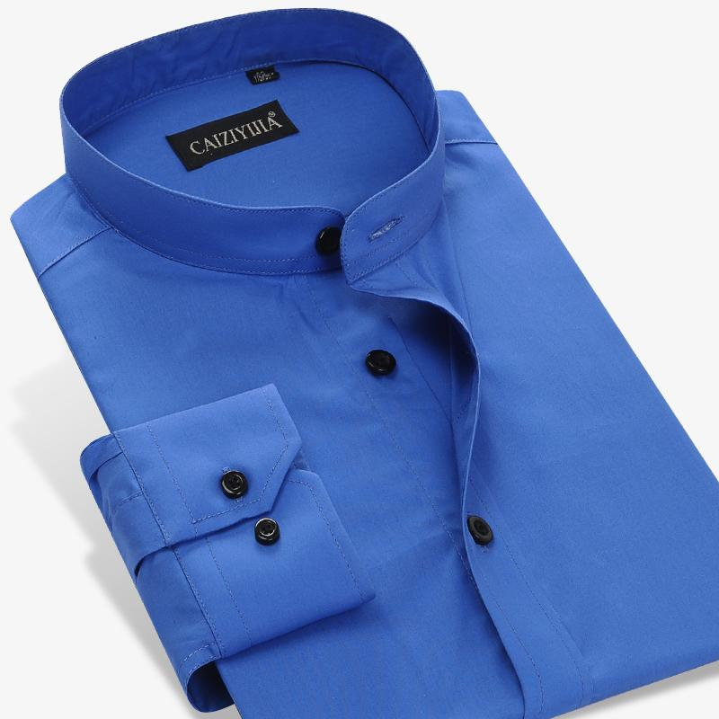 Wholesale- Brand Fashion Men Mandarin Collar Dress Shirt Long Sleeve Slim Fit 100% Cotton Party Formal Business Male Casual Shirts Plus 4
