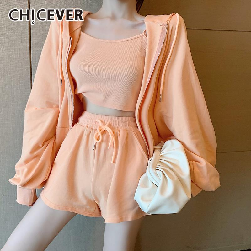 CHICEVER Korean Three Piece Set Women Hooded Lantern Sleeve Jacket Lace Up High Waist Shorts Suits Female 2020 Fashion Clothes