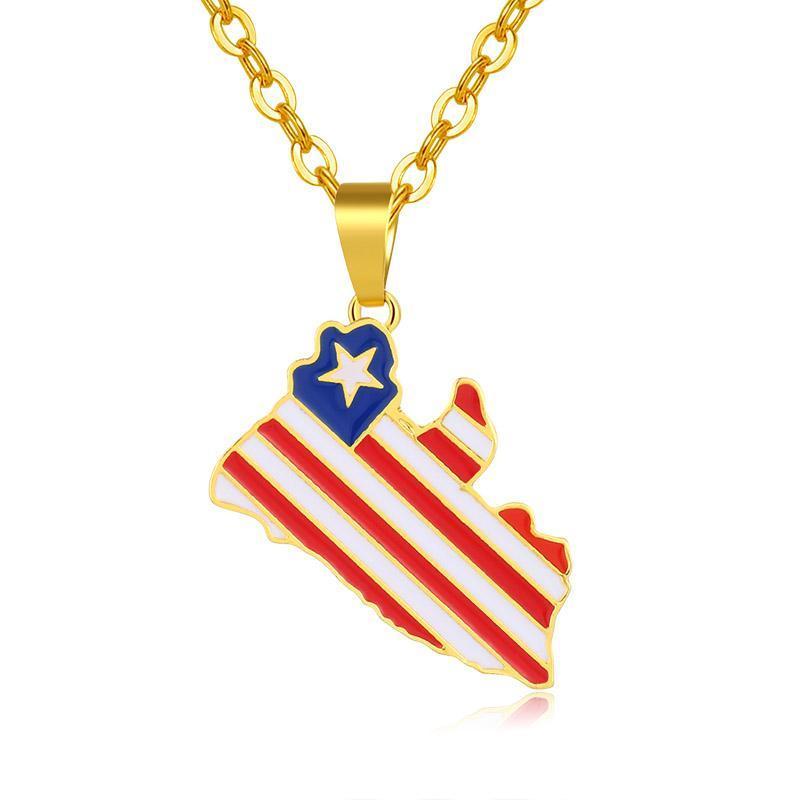 Liberia paese Mappa collane per le donne Catena collana Bandiera uomini del pendente di colore dell'oro mappe fascino Bijoux Femme
