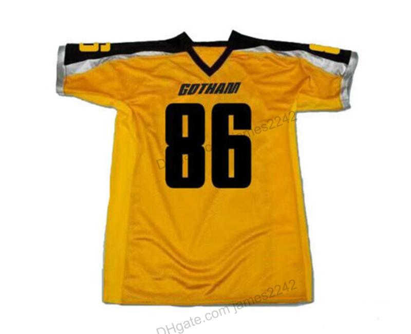 Pas cher Personnaliser Gotham Rogues Hines Ward Ward # 86 Football Jersey Film Jaune Jaune Nom Numéro Taille Taille 2X-3XL Top Quelayty