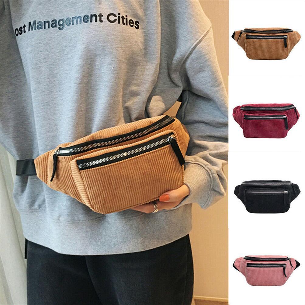 Senhoras Cintura Mulheres Bum Bag Fanny Packs Money Wallet Viagens Férias Moda Corduroy Bolsa Vintage Pacote Satchel Saco Saco Fnrnv