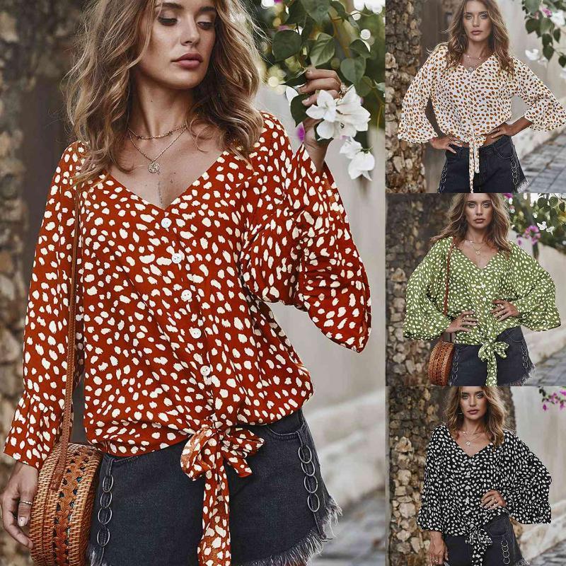 Women's Blouses & Shirts Women Blouse V Neck Butterfly Sleeve Summer Dot Printed Spring Boho Tops