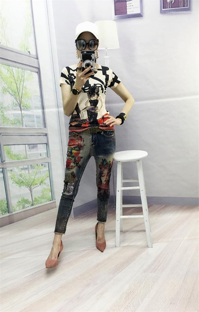Denim Trousers Female Clothing Stretchy Women Designer Jeans 3D Flowers Pattern Painted Pencil Pants Woman Elegant Style