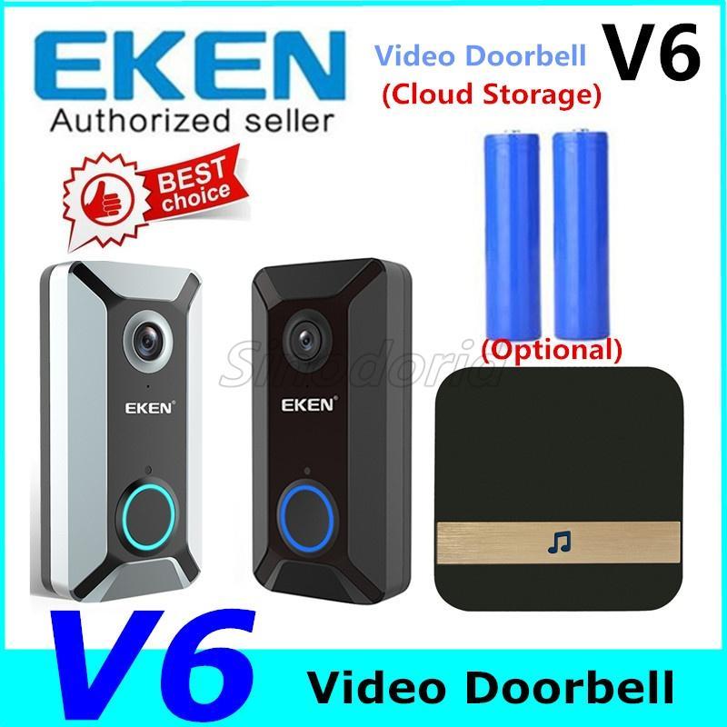 EKEN V6 720P WIFI فيديو الجرس الرئيسية جرس الباب الرنين Wireles الاتصال الداخلي المرئي سحابة التخزين اتجاهين الصوت للرؤية الليلية
